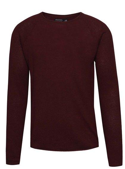 Vínový lehký svetr s kulatým výstřihem !Solid Errol