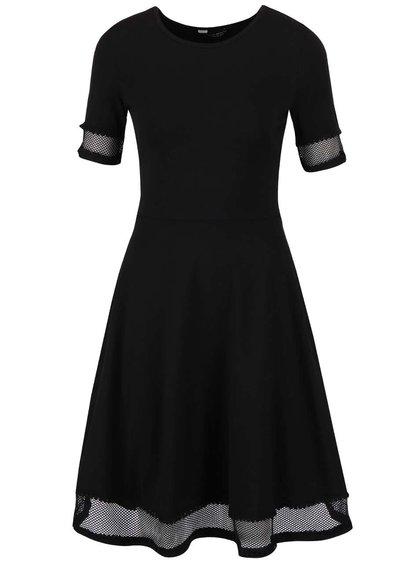 Černé šaty se síťovaným lemem Dorothy Perkins