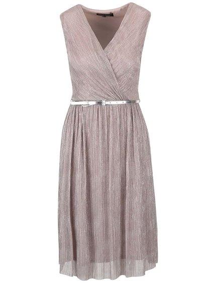 Růžovo-šedé lesklé plisované šaty s páskem Dorothy Perkins