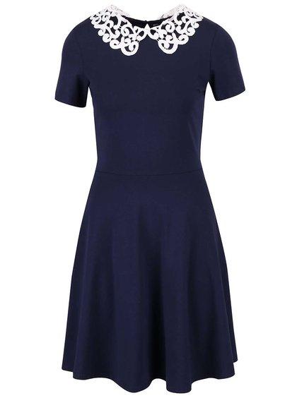 Tmavomodré šaty s bielym čipkovaným golierom Dorothy Perkins