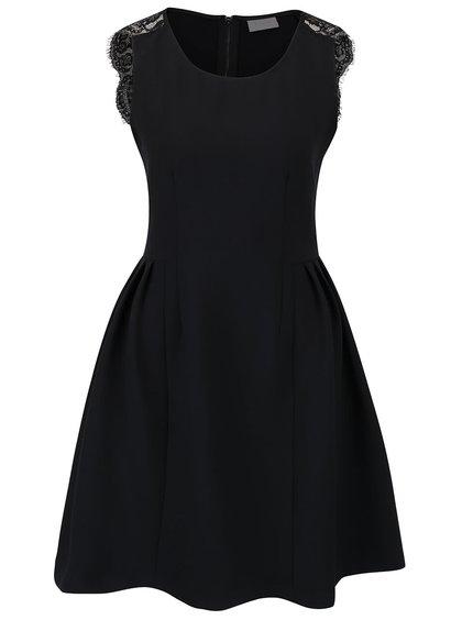 Rochie neagră VILA cu detaliu dantelă
