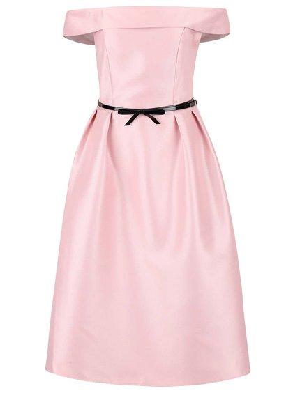 Svetloružové šaty s opaskom a odhalenými ramenami Dorothy Perkins
