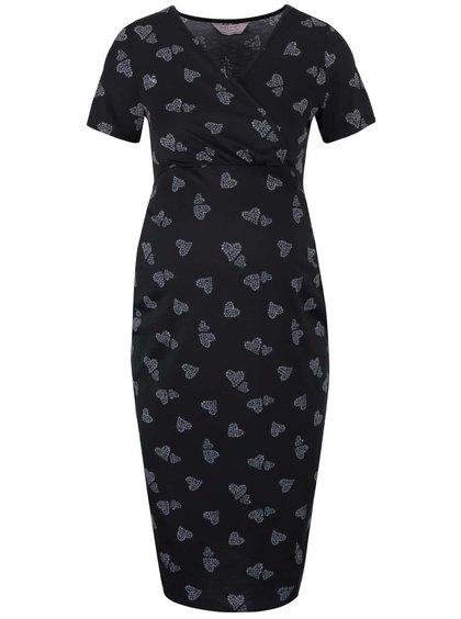 Černé těhotenské šaty s potiskem Dorothy Perkins Maternity
