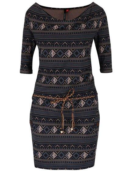 Šedo-černé vzorované šaty s páskem Ragwear Tanya Inka