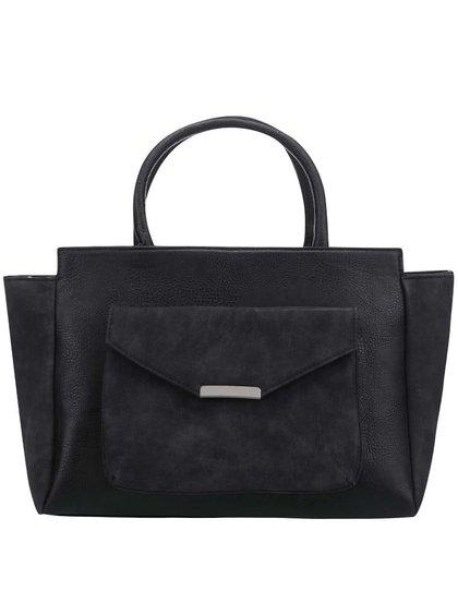 Čierna kabelka do ruky so semišovými detailmi Pieces Paura
