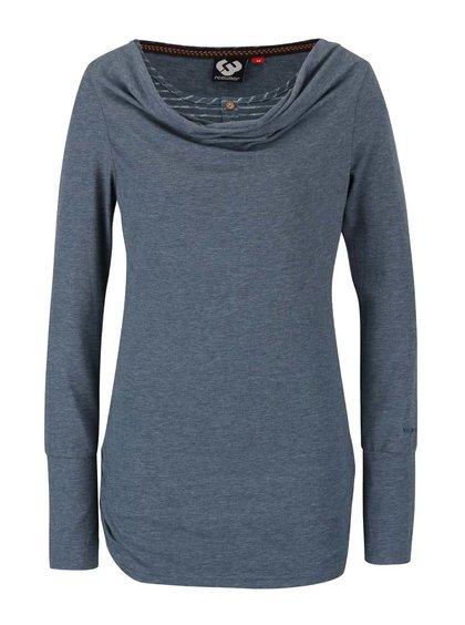 Petrolejové dámské žíhané tričko s dlouhým rukávem Ragwear Zimt