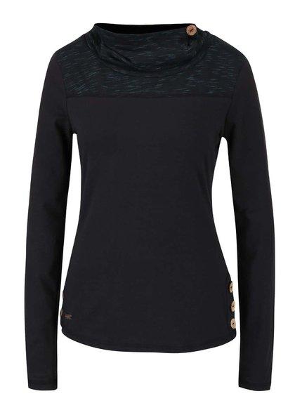 Tyrkysovo-čierne dámske tričko s golierom a dlhým rukávom Ragwear Willow