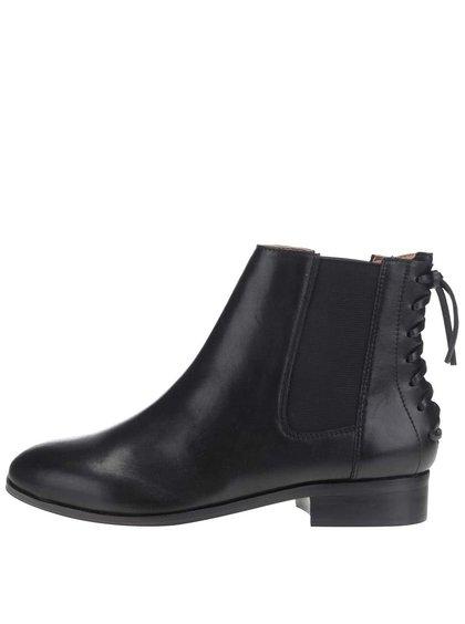 Černé dámské kožené kotníkové boty s gumovou vsadkou ALDO Boudinot