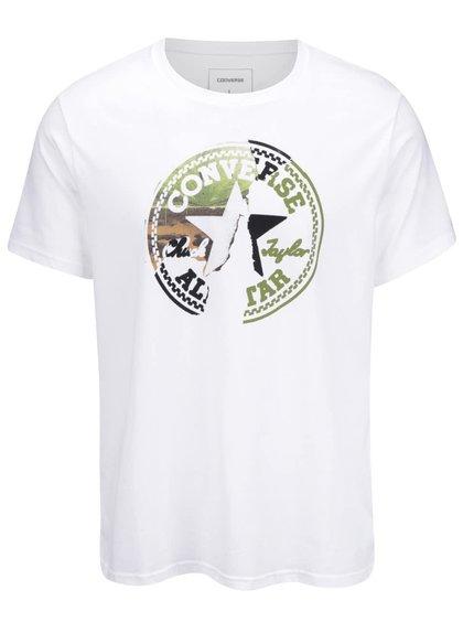Bílé pánské triko s barevným logem Converse On the road