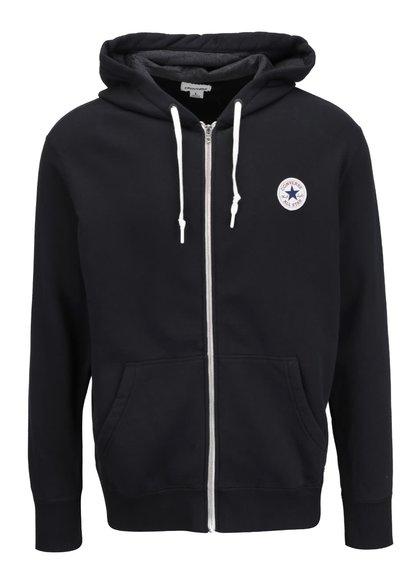 Černá pánská mikina na zip s kapucí Converse