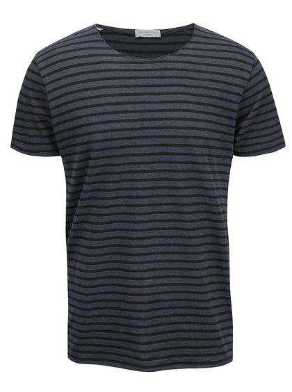 Tricou albastru Selected Homme Monte cu model în dungi