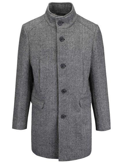 Šedý žíhaný kabát Selected Homme New Mosto