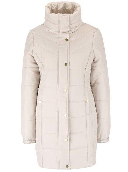 Béžový dlhý prešívaný kabát s vysokým golierom Vero Moda Papette