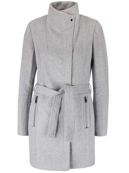 Svetlosivý melírovaný kabát s opaskom Vero Moda Call