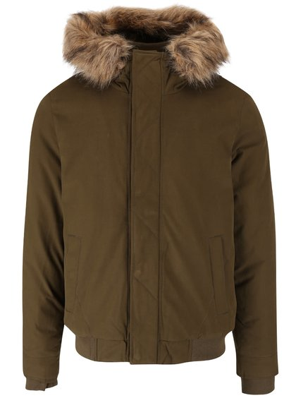 Khaki pánská bunda s umělým kožíškem Ragwear Dock