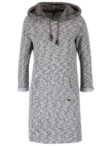Čierno-sivé melírované mikinové šaty s pletenou kapucňou Ragwear Bess