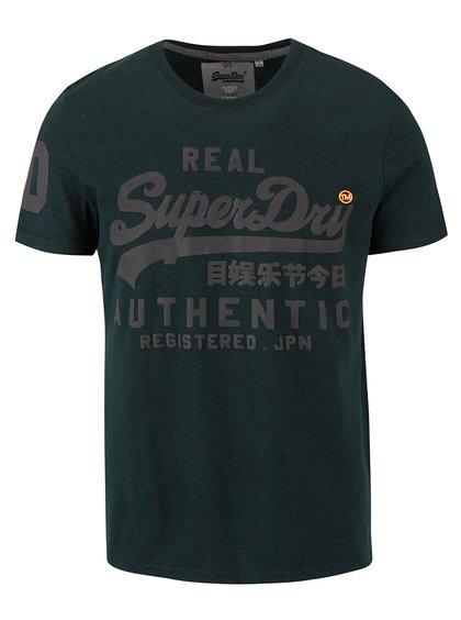 Tricou verde închis cu logo Superdry