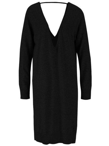 Černé svetrové volnější šaty s véčkovým výstřihem Noisy May Mena