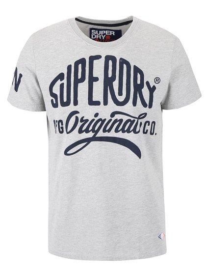 Šedé pánské triko s nápisem Superdry