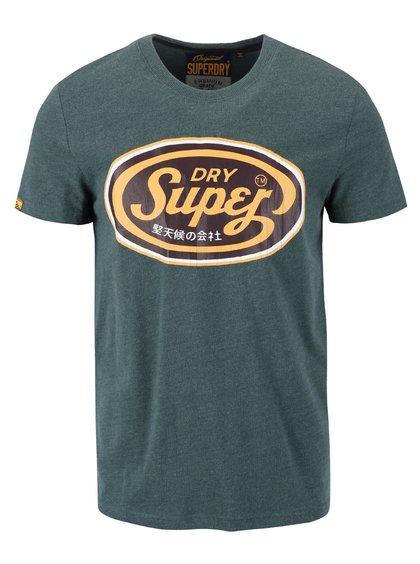 Tricou verde cu imprimeu Superdry