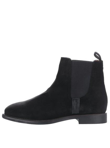 Čierne dámske členkové topánky z brúsenej kože GANT Jennifer