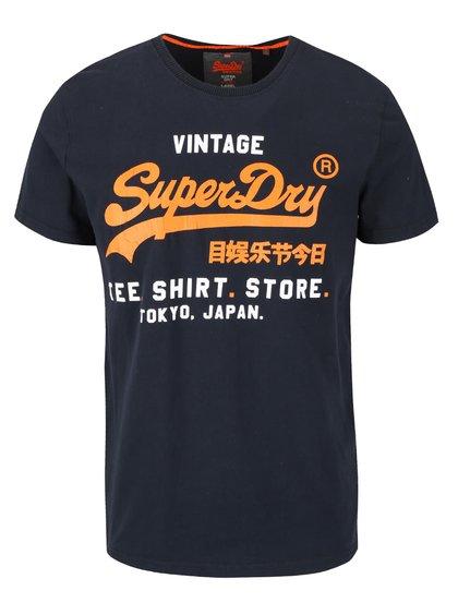 Tricou bleumarin cu print Superdry