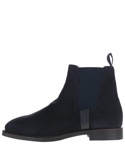 Tmavě modré dámské kotníkové boty z broušené kůže GANT Jennifer