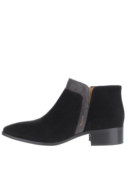 Černé dámské semišové kotníkové boty GANT Lisa