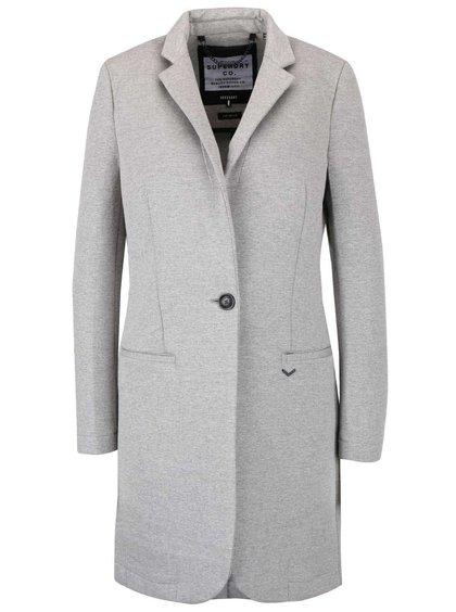 Šedý dámský kabát s límcem Superdry