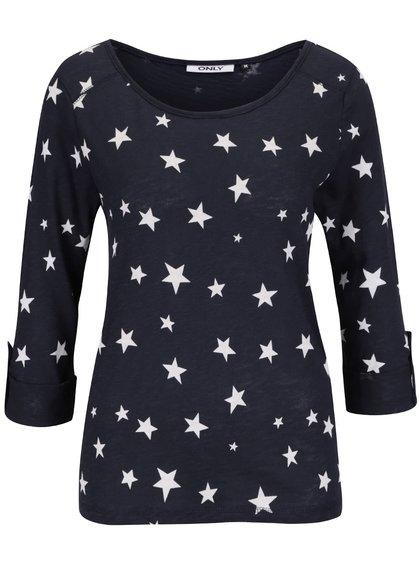 Tmavě modré tričko s potiskem hvězdiček ONLY Jess