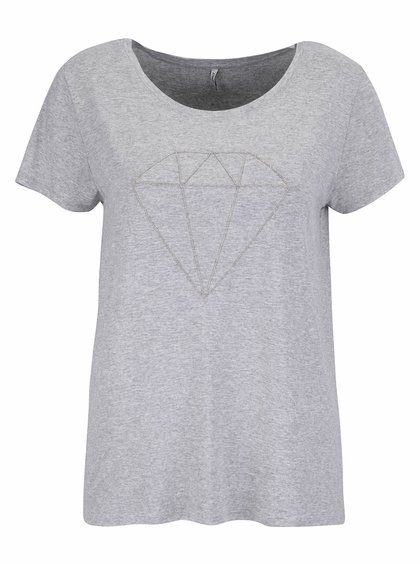 Sivé melírované tričko s aplikáciou ONLY Alice