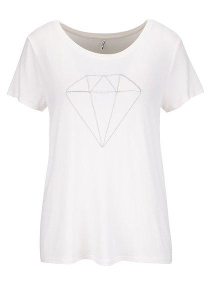Krémové tričko s aplikáciou ONLY Alice