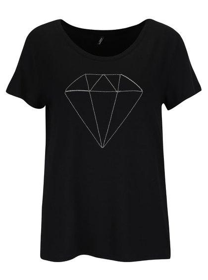 Čierne tričko s aplikáciou ONLY Alice