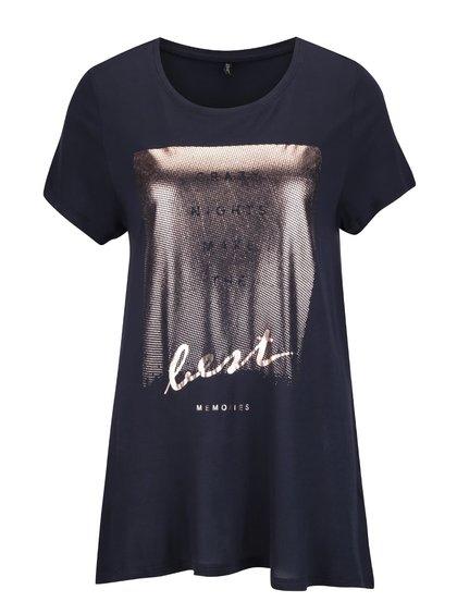 Tmavomodré tričko s trblietavou potlačou ONLY Viscose