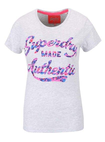 Světle šedé dámské tričko s nápisem Superdry