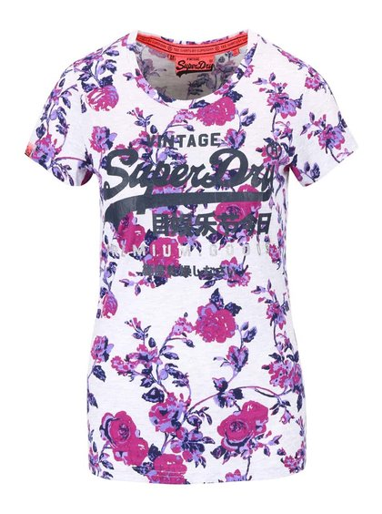 Tricou crem Superdry cu imprimeu floral