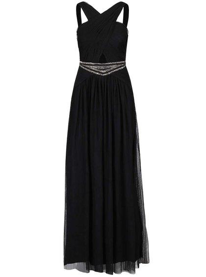 Černé dlouhé šaty s ozdobným páskem Little Mistress