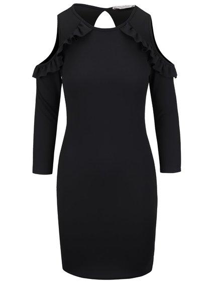 Černé šaty s volánky u ramenou Miss Selfridge