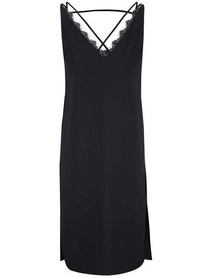 Čierne ľahké šaty s čipkovaným detailom vo výstrihu Miss Selfridge