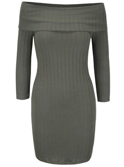 Khaki šaty s odhalenými rameny Miss Selfridge