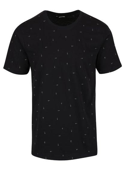 Černé triko se vzorem ONLY & SONS Nader