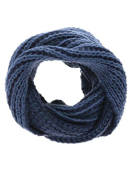 Modrá pletená dutá šála Blend