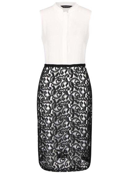 Rochie alb cu negru Dorothy Perkins cu dantelă