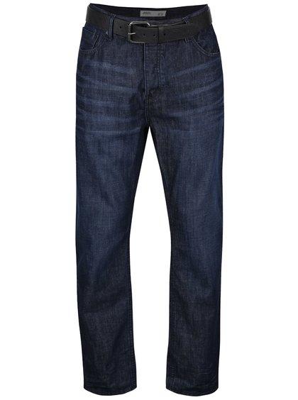 Tmavě modré vyšisované džíny s páskem Burton Menswear London