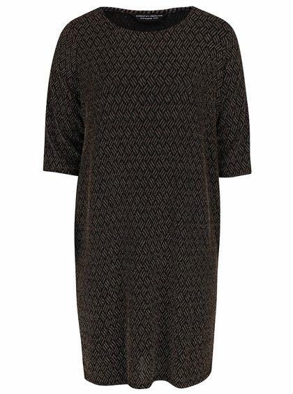 Černé šaty s metalickým vláknem ve zlaté barvě Dorothy Perkins Curve