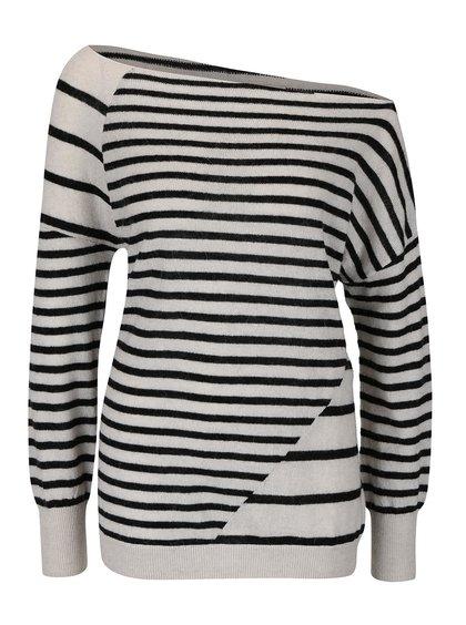 Krémový vlnený asymetrický sveter s pruhmi YAYA