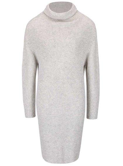 Světle šedé žebrované svetrové šaty s rolákem YAYA