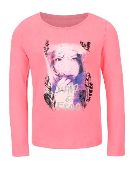 Ružové dievčenské tričko s dlhým rukávom Cars Jeans Chiara