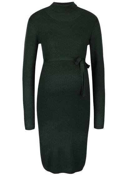Zelené těhotenské šaty s dlouhým rukávem Mama.licious Jacina