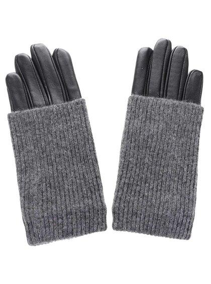 Mânuși tricotate Pieces Patty cu piele naturală